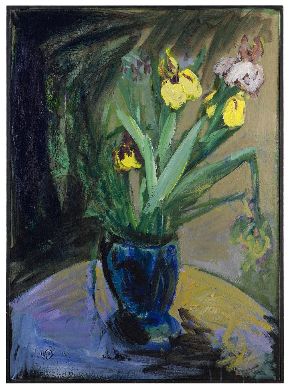 Tableau d'Iris jaunes et blancs (format 100 par 73 centimètres)