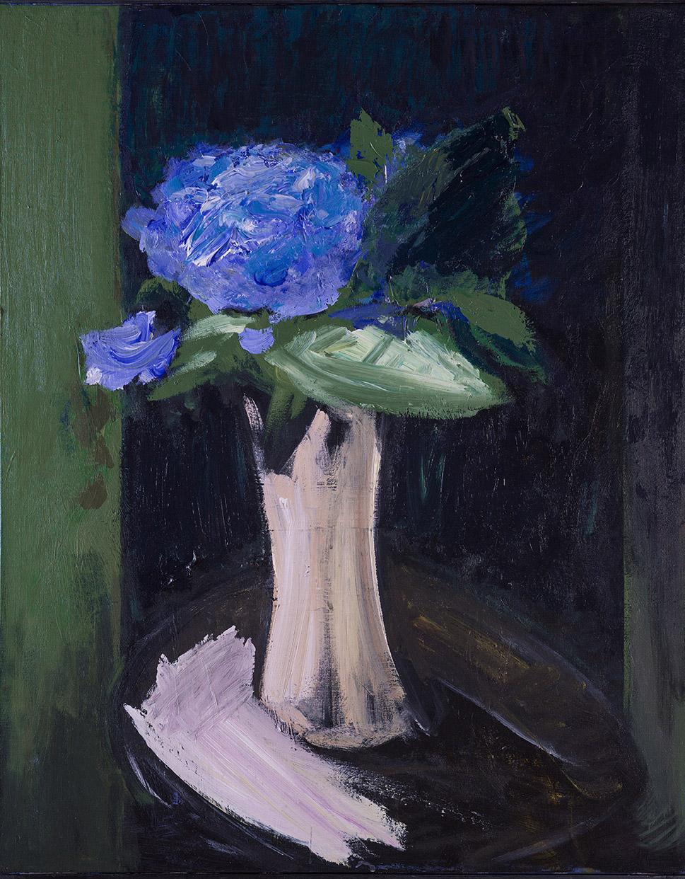 Tableau d'Hortensias et vase blanc, de Patrice Giorda